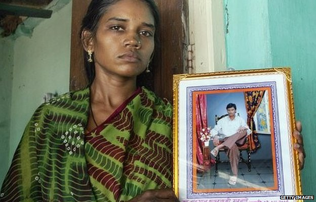 The widow of an Indian farmer who killed himself
