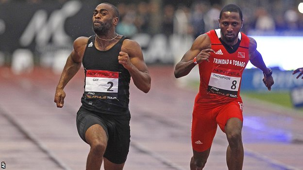 Tyson Gay on his way to victory over Richard Thompson in Paris