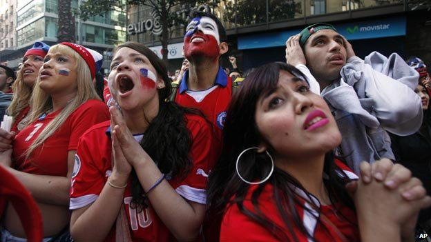 Chile football fans at World Cup