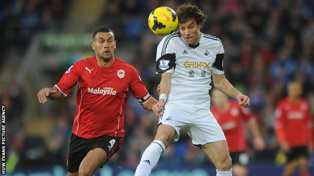 Michu in action for Swansea against Cardiff City