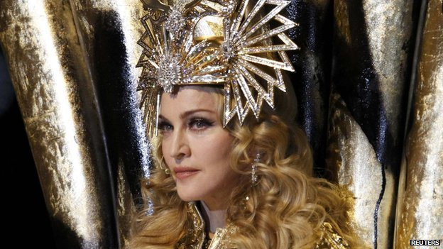 Madonna performing at the Super Bowl