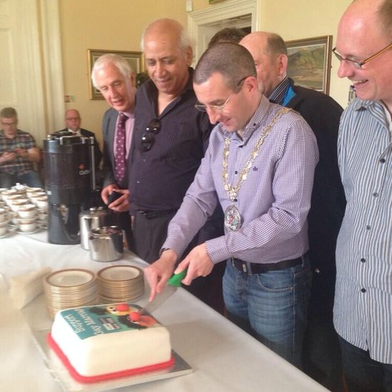 The cake was ordered for a civic event in Bangor Castle Town Hall, County Down, to mark  International Day Against Homophobia and Transphobia