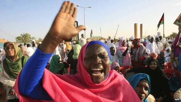 An opposition supporter at a rally in  Khalifa Square in Sudan's twin capital of Omdurman on 29 June 2013