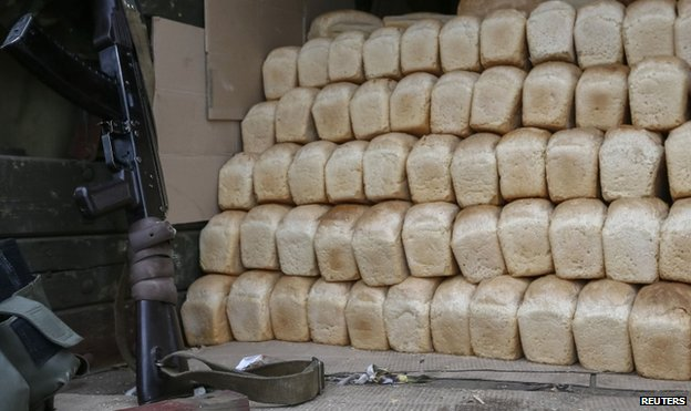 Bread handed out to residents in Sloviansk