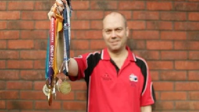 Robert Weale with his Commonwealth medals