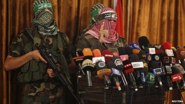 Izzedine al-Qassam Brigade spokesman at a news conference in Gaza City on 3 July 2014