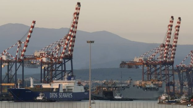 Vessel carrying chemical agents from Syria docked in Italian port