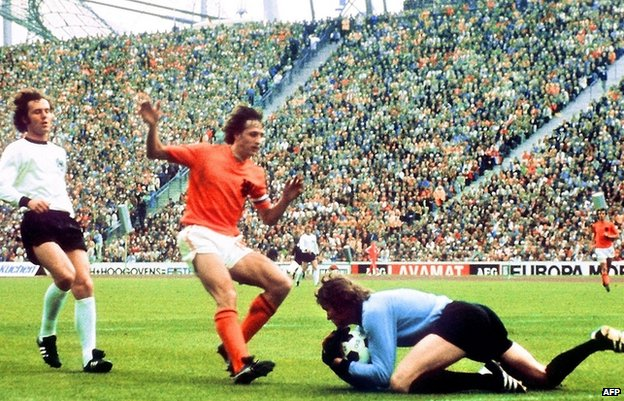 Johan Cruyff is prevented from scoring by West Germany's Sepp Maier in 1974