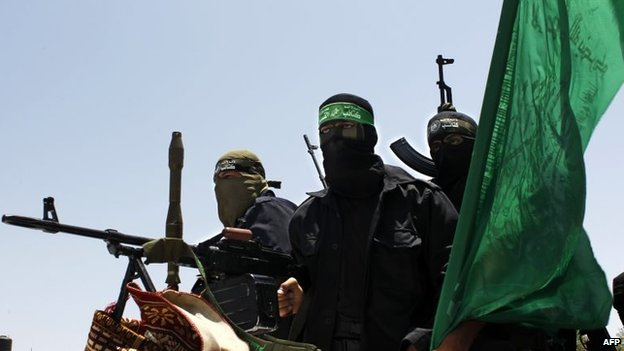Izz al-Din al-Qassam Brigades fighters in Deir al-Balah (30 June 2014)
