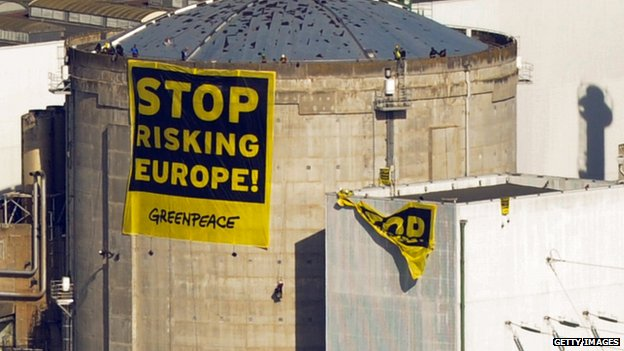 Greenpeace protest at France's oldest nuclear power plant at Fessenheim,  March 2014