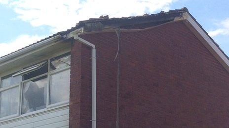 Lightning-damaged house