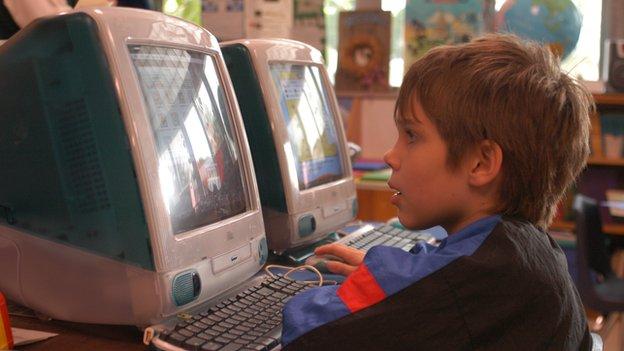Mason at the computer