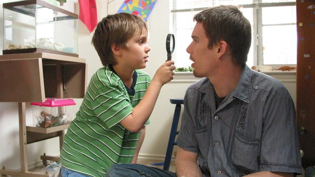 Mason and his father Mason Sr played by Ethan Hawke