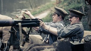 Royal Fusilier Sid Godley (played by Theo Barklem Biggs) and companion Frank