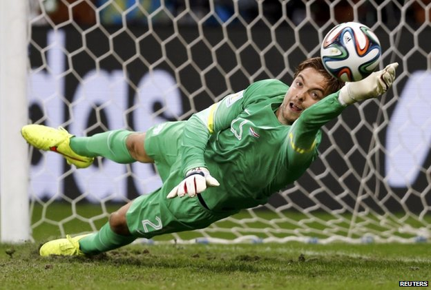Tim Krul saves Costa Rica's final penalty (5 July)