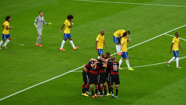 Germany celebrate their fifth goal