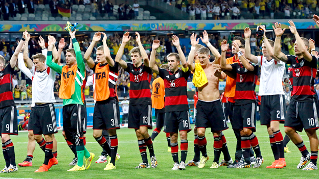 Germany celebrate after beating Brazil 7-1