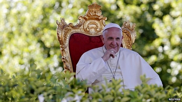 Pope Francis looks on after he gave a speech outside the Castelpetroso sanctuary, near Isernia, south of Italy - 5 July 2014