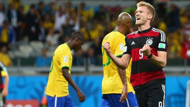 Andre Schurrle scores Germany's sixth against Brazil
