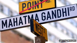 Street sign bearing name of Gandhi