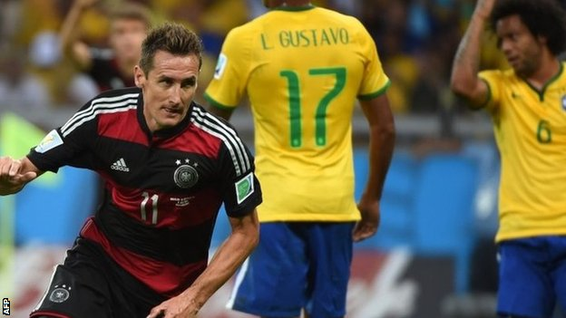 Germany's Miroslav Klose scores