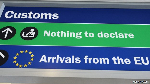 "An airport Customs sign directing arrivals from the EU towards a queue marked ""nothing to declare"""