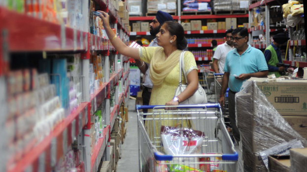Shoppers in Walmart, near Amritsar