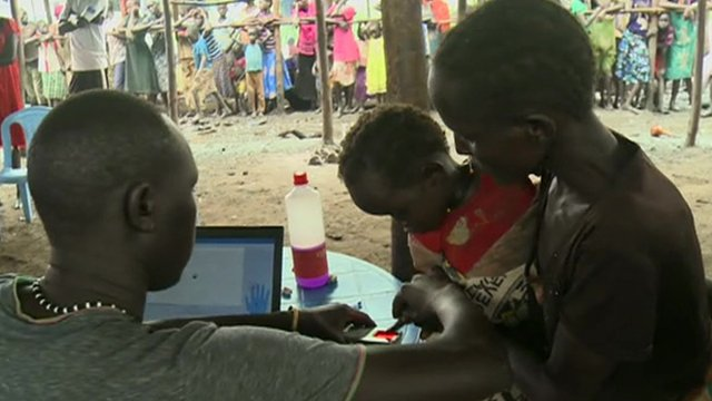A South Sudanese child is registered at a refugee camp in Ethiopia