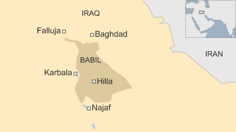 Map of Babil province, Iraq
