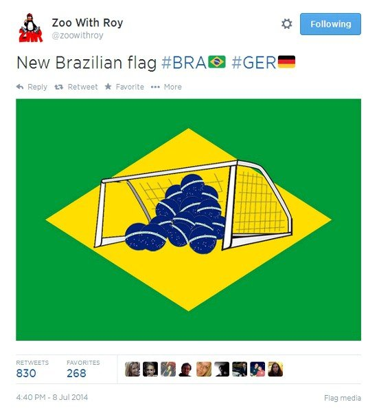 Tweet showing mocked-up Brazilian flag