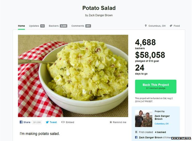 A screengrab of the potato salad on Kickstarter