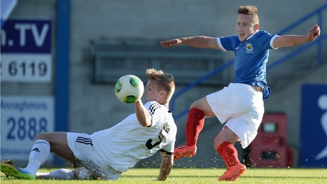 Michael Carvill scored for Linfield against B36 Torshavn