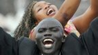 People celebrating South Sudan's independence in 2011