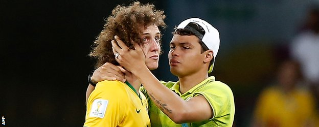 Brazil's David Luiz and Thiago Silva