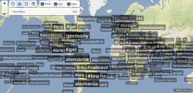 A Trendsmap screengrab showing tweets around the world 70 minutes into the World Cup Brazil Germany semi-final