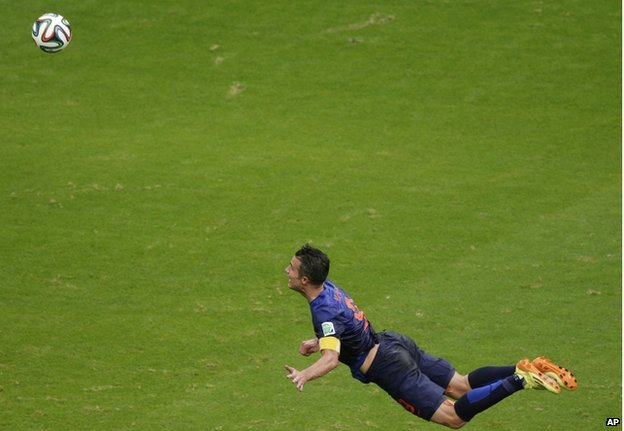 Robin Van Persie's wonder-goal helped defeat 2010 champions Spain on 19 June