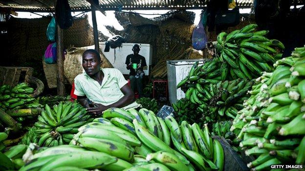 Banana stall in Konyo Konyo market