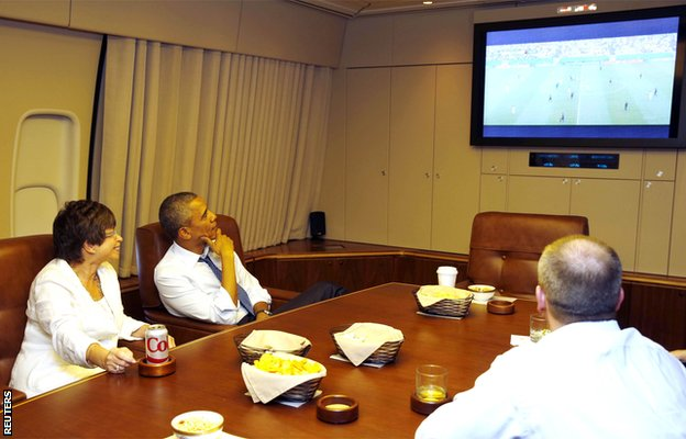 USA president Barack Obama watches the World Cup from Air Force One