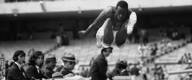 US long jumper Bob Beamon at the Mexico Olympics