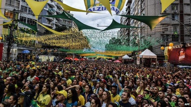 Brazil's fans react during a public viewing event at a street in Rio de Janeiro