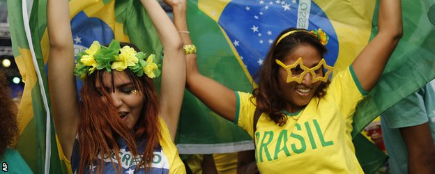 Brazil fans at the 2014 World Cup