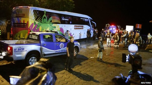 Escorted by the Brazilian military police, the bus carrying the German national soccer team arrives in the town of Santa Cruz Cabralia