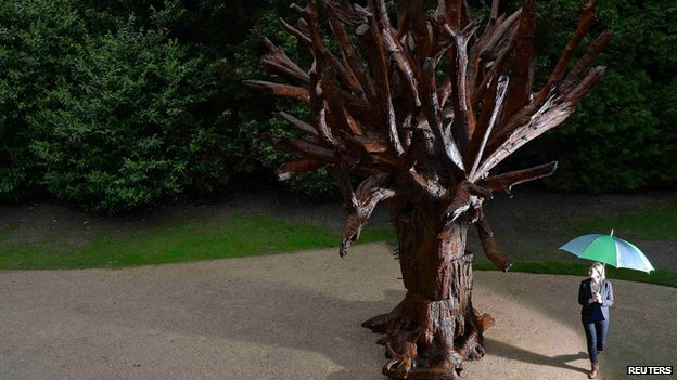 Iron Tree, a sculpture by Chinese artist Ai Weiwei is seen displayed in a courtyard of the chapel at the Yorkshire Sculpture Park