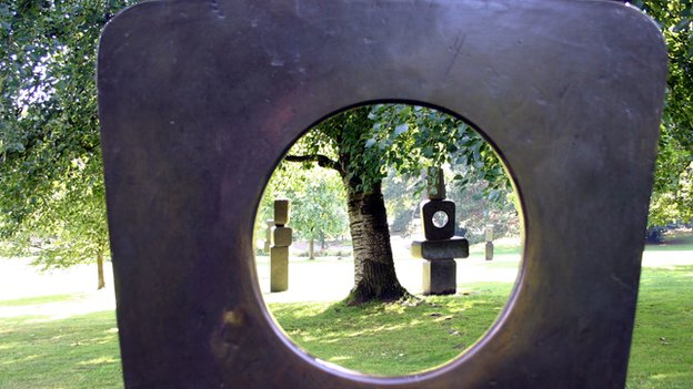 A series of sculptures by Barbara Hepworth called Family of Man in the open air at the Yorkshire Sculpture Par