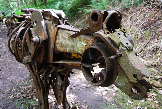 Metal cow on cycle route