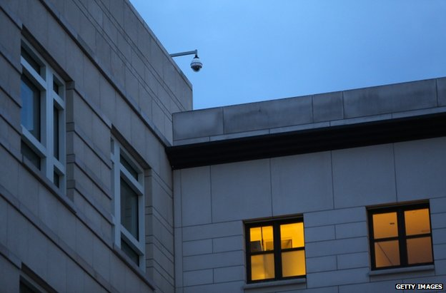 A surveillance camera on the US embassy in Berlin, 7 July