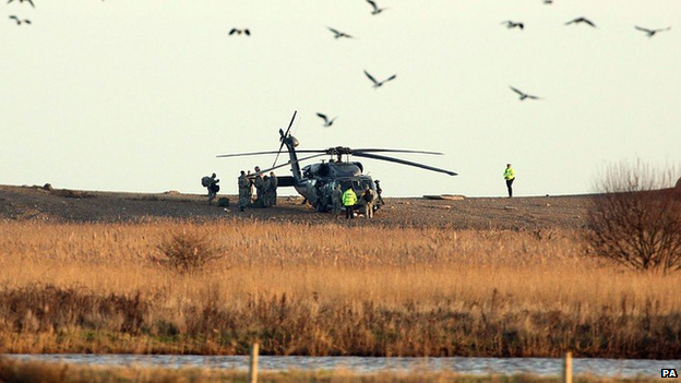 Scene where a US Pave Hawk helicopter crashed killing four people at Cley next the Sea, Norfolk