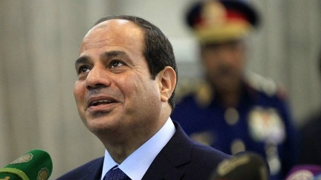 Egypt's President Fattah al-Sisi speaking at a news conference in Khartoum on 27 June