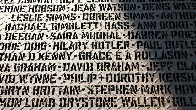 The Walk of Art, with the names of everybody who has contributed funds to the Yorkshire Sculpture Park