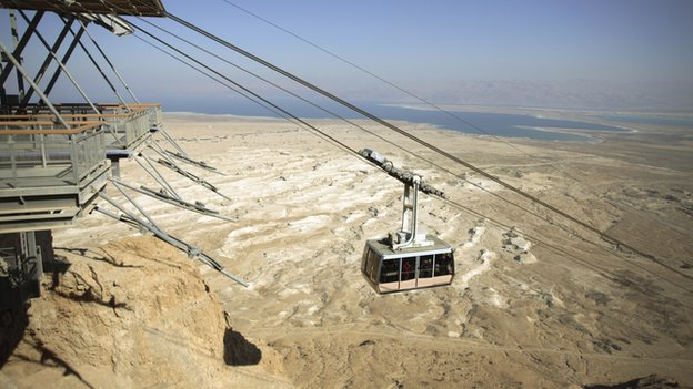 A cable car near the Masada National Park in Israel.